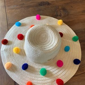 Betsey Johnson Accessories - New Betsey Johnson Pom Pom Floppy Beach Sun Hat 26900af21fca